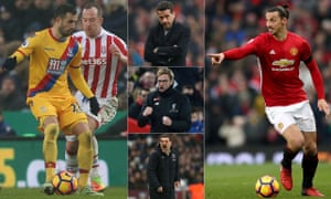 Luka Milivojevic of Crystal Palace, Hull City's Marco Silva, Liverpool's Jürgen Klopp, West Ham's Slaven Bilic and Manchester United's Zlatan Ibrahimovic.