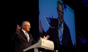 Prime minister Scott Morrison speaks at the Chamber of Commerce and Industry of Western Australia in Perth on Monday.