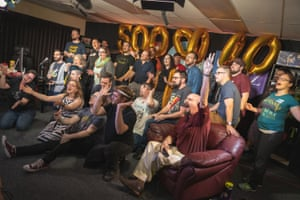 Members of LoadingReadyRun celebrate hitting the $5m mark raised over the lifetime of Desert Bus for Hope.