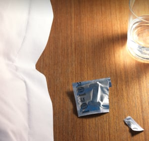 Photograph of empty condom packet