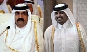 Qatar's Emir Tamim bin Hamad al-Thani, right, and his father Hamad bin Khalifa al-Thani