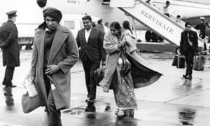 Ugandan Asians arrive at Stansted airport, October 1973.