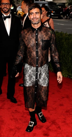 The same year, designer Marc Jacobs donned a long, lace shirt-dress over white boxer shorts.