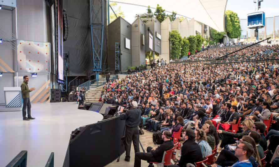Sundar Pichai, Google's CEO, speaks during the Google I/O Developers Conference in Mountain View in May.