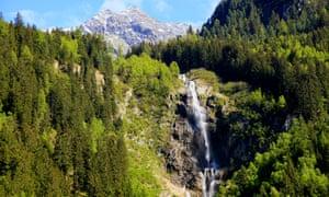Grawa Waterfall and Alpine landscape near Neustift in Stubaital
