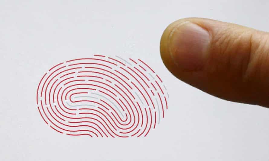 Finger over a biometric sensor
