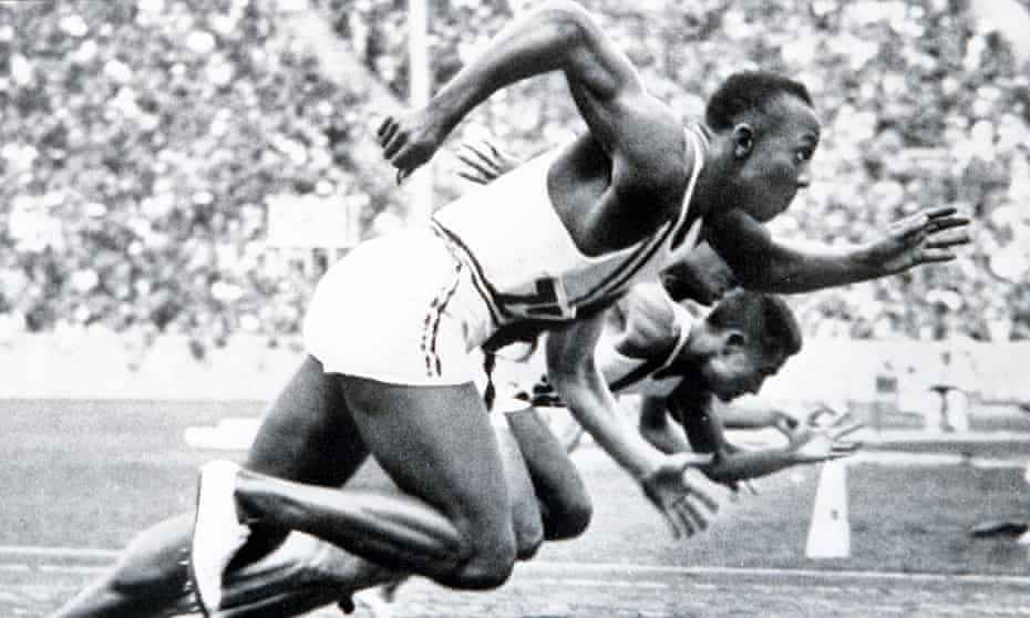 Jesse Owens on his way to winning gold in the 100m at the 1936 Berlin Olympic Games. Click here for a gallery of Owens's performances in Germany.
