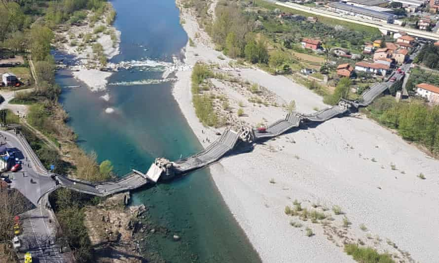 The collapsed bridge in Aulla, northern Italy