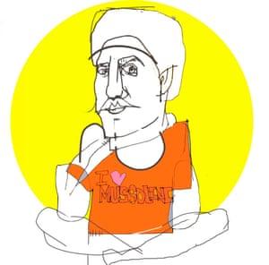 Illustration of a man sitting cross-legged wearing I Love Mussolini T-shirt