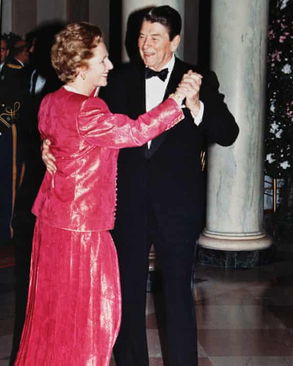Margaret Thatcher and Ronald Reagan dance in the foyer of the White House during a state dinner in Thatcher's honor in 1988.
