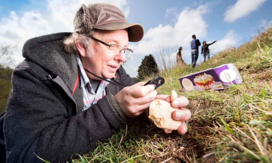 Mark Greaves, a volunteer at Daneway Banks where Phillip Cullen was spotted with a net, uses trifle sponges as insect bait to attract red ants, critical to the large blue's life cycle.
