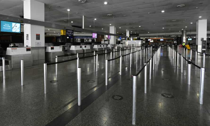 Empty international check-in terminals are seen at Melbourne airport on Saturday.