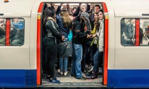 Tube train full of people