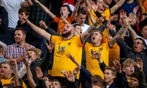 2018 EPL Premier League Football Wolves v Man City Aug 25th<br>25th August 2018, Molineux, Wolverhampton, England; EPL Premier League football, Wolverhampton Wanderers versus Manchester City; Wolverhampton Wanderers fans sing to the Manchester City fans while the score remains 1-1 (photo by Steve Feeney/Action Plus via Getty Images)