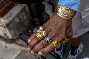 """<strong>Notting Hill spectator</strong><br>I caught this hand in the crowd spectating the Carnival. It's the story it told, a West Indian from another era when gold jewelry gave a message to all of suggestions of one's wealth and style. Often it was the only thing of value that the person possessed<br>Photograph: <a href=""""https://witness.theguardian.com/assignment/55deeea5e4b0778f0c23e764/1688301"""">ID8799088/GuardianWitness</a>"""