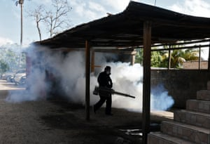 A fumigation operation to combat the dengue fever, which left at least 44 dead this year