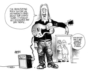 cartoon of middle-aged man with guitar