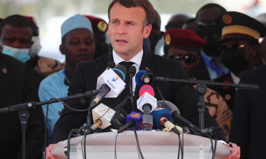 Emmanuel Macron delivers a speech during Déby's funeral.