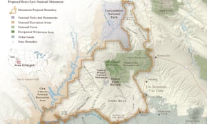 Map of the at the proposed Bears Ears national monument in Utah.