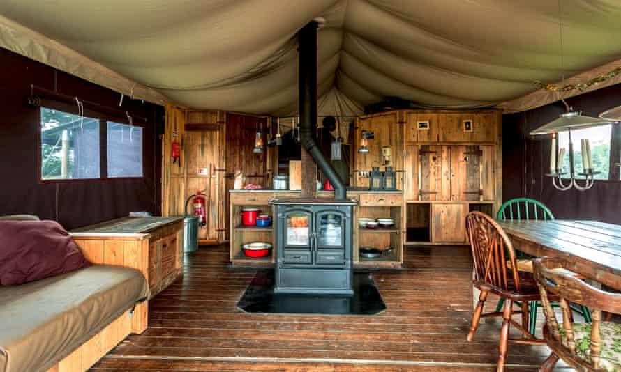 Interior of Featherdown Farm tent