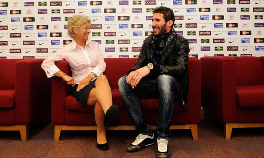 Aston Villa Players Welfare Officer Lorna McClelland pictured at Bodymoor Heath with Carlos Cuellar