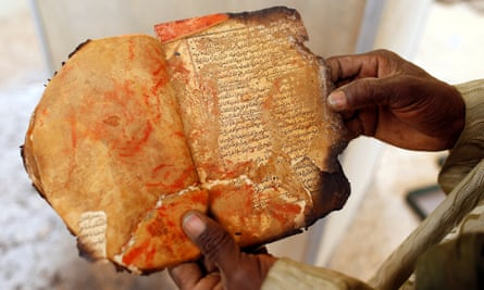 A damaged manuscript in Timbuktu in January 2013.