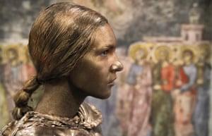 An artist from Ukraine's Artel Myth theatre perform as Yaroslavna