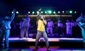 Mitchell Brunings as Bob Marley in One Love: The Bob Marley Musical.