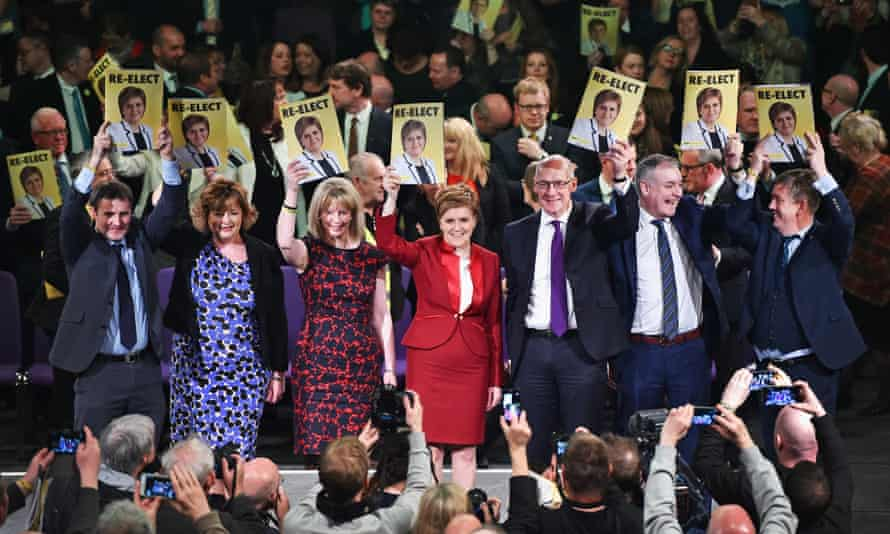The SNP leader, Nicola Sturgeon (centre), with cabinet members inApril 2016 during the Holyrood election campaign