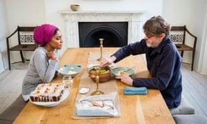 Nigel Slater and Nadiya Hussain share lunch at Nigel's home.