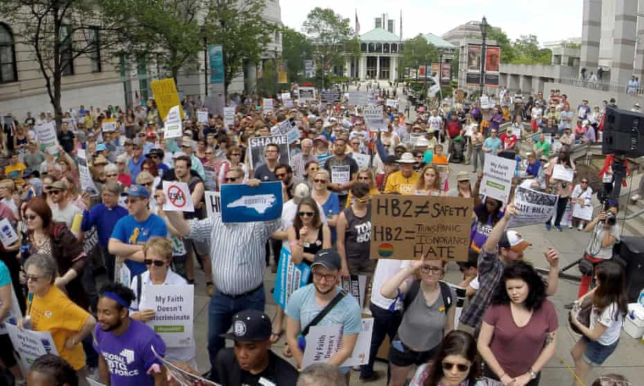 """Protesters rally against the """"bathroom bill"""" in Raleigh, North Carolina, in 2016."""