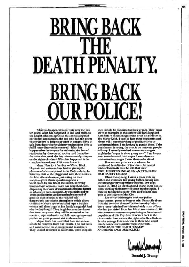Donald Trump and the Central Park Five: the racially charged