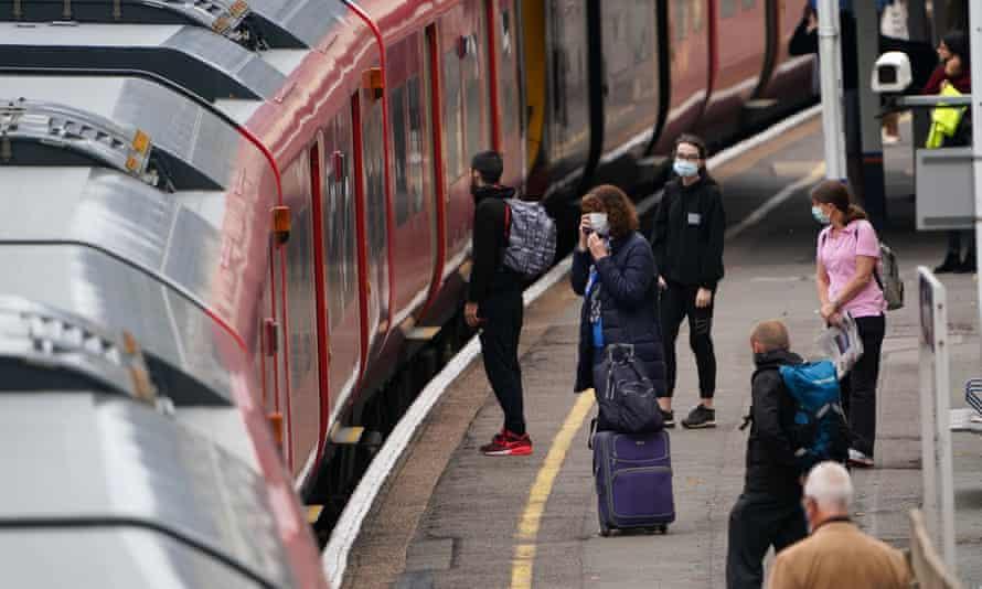 Commuters in Hampton, London.