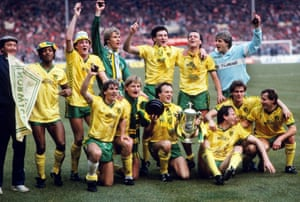 Norwich players enjoy their big day out at Wembley before their form collapses.
