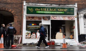 Attacked … The Village Shop in Norwich, an east European food store, was badly damaged in an arson attack in August.