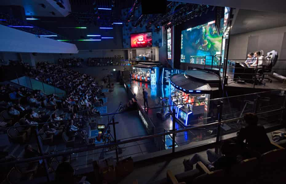 Fans watching the League of Legends eSports match between Rox Tigers and SK Telecom at the Seoul eSports Stadium.