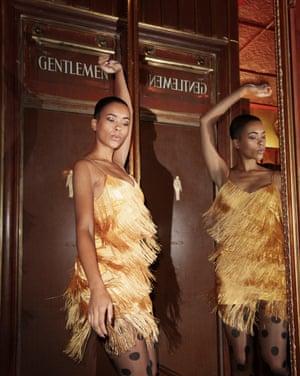 model wears dress, £69.99, mango.com. Tights, €6, fiore.pl.