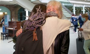 Eurostar passengers were reunited with family members at Kings Cross St Pancras International in London yesterday.