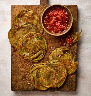 Yotam Ottolenghi's za'atar paratha with grated tomato.