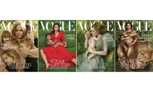 The quartet of Vogue US 2020 cover photographs of: Stella McCartney, Cardi B, Greta Gerwig and Ashley Graham.