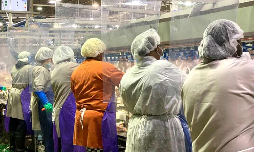 Workers at Tyson's poultry processing plant. Beijing has suspended imports from the plant, which has been affected by coronavirus.