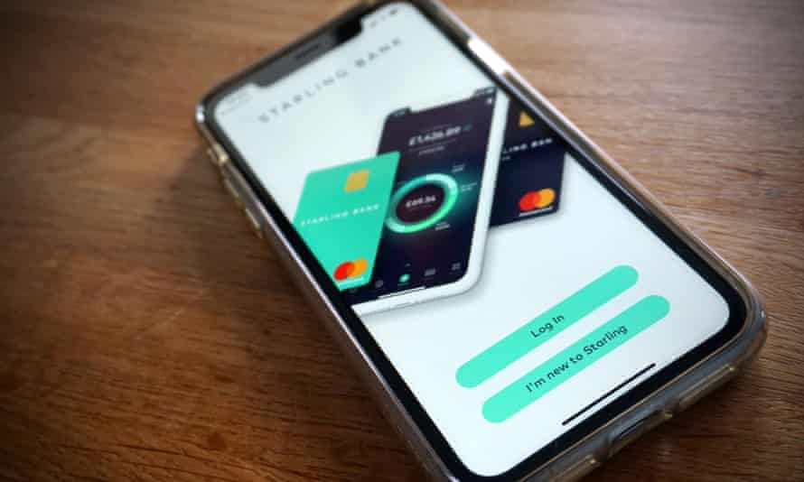 The Starling Bank banking app on a smart phone
