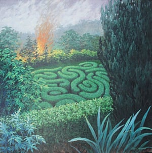 Passing Disturbance IIAnother from a series of paintings with fires and mazes, the maze might be a refuge from the outside, but has its own threats, and the threat from outside is already advancing.
