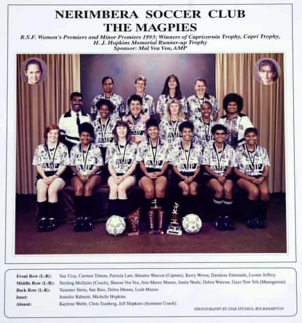 Nerimbera Magpies women's football team, 1993. Sterling McQuire is far left, middle row.