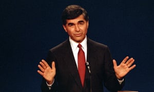 Democratic presidential candidate Michael Dukakis answers questions.