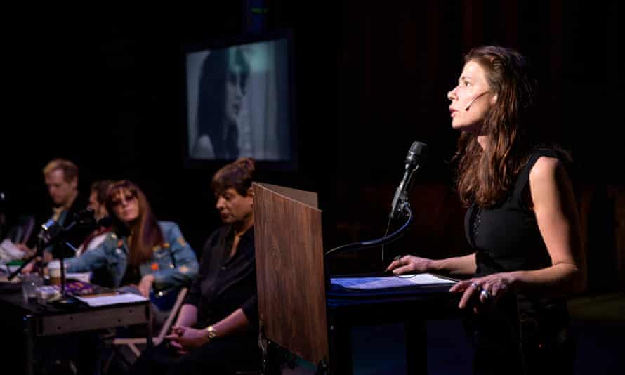Maura Tierney as Germaine Greer in The Wooster Group's The Town Hall Affair