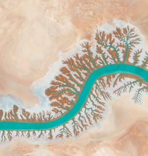 Dendritic drainage systems are seen around the Shadegan lagoon by Musa Bay in Iran