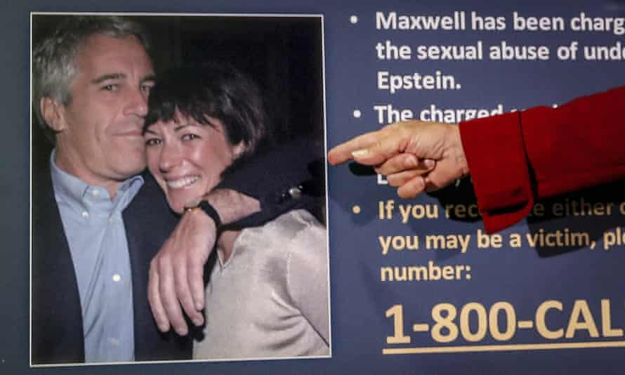 Audrey Strauss, acting US attorney for the southern district of New York, points to a photo of Jeffrey Epstein and Ghislaine Maxwell.