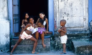 Young boys and girls in the old district of Bahia's capital, Salvador. Eighty percent of Bahia's population identify as black or mixed race.