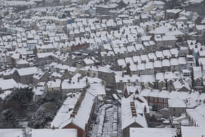 Snow-topped roofs in Fortuneswell, the Isle of Portland, Dorset.